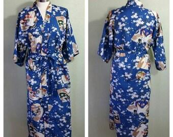 Vintage Kimono by Alberto, geisha Kimono, blue robe