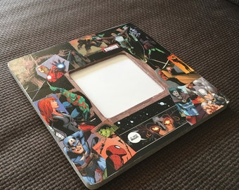 """Avengers Infinity War inspired Comic Themed Square Decoupage Picture Frame (3.7""""X3.7"""")"""