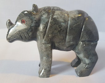 "Soapstone Rhino Figurine 3.25""W Rhinoceros Stone Carving"