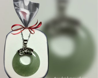 Natural Gemstone Green Silver Necklace