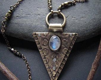 Moonstone Pendant Brass Triangle Necklace Artisan Metalsmith OOAK