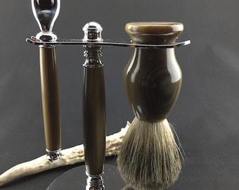 Mach 3 Razor and Brush Shaving Set - Handmade Razor and Brush Set - Razor and Stand - Badger Shaving Brush - Antler Razor - Antler Brush