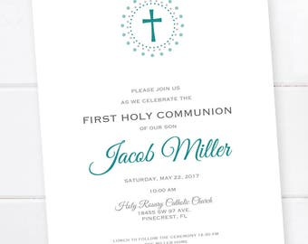 First Communion Invitation, Confirmation, Baptism, First Eucharist, Religious Invitation, Custom Colors PRINTABLE DIGITAL FILE