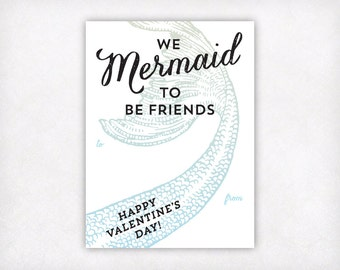 PRINTABLE Mermaid Valentines Day Cards, Little Mermaid Girls Valentine's Card, We Mermaid To Be Friends Kids Valentine Instant Download
