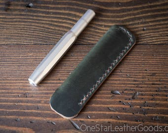 Kaweco Sport pen sleeve - hand stitched Horween Chromexcel leather - forest green