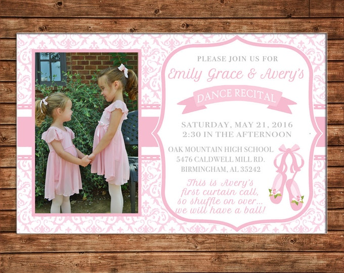 Girl Photo Invitation Dance Recital Ballet Birthday Party - Can personalize colors /wording - Printable File or Printed Cards