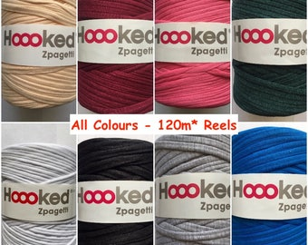 Hoooked Zpagetti Recycled T-shirt Jersey Yarn Giant Bobbin 120m Crochet Knitting ALL COLOURS