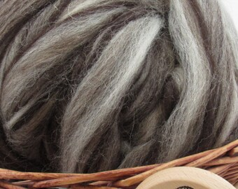 Mixed Jacob Wool Top Roving - Undyed Natural Spinning & Felting Fiber / 1oz