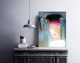 "Abstracts Lady Portrait, XL art prints, Turquoise Pink wall art, oil canvas portrait, 16""x20"" , Modern abstract female art, Sakura Blossoms"
