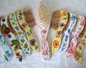 Wooden hair brush decorated by decoupage technique