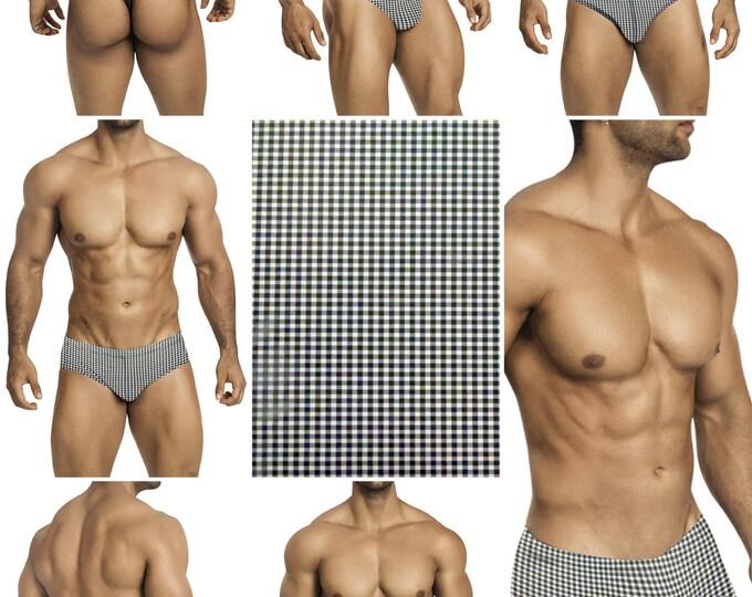 Black and White Check Swimsuits for Men by Vuthy Sim.  Choose Thong, Bikini, Brief, Squarecut - 211