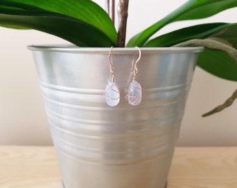 Semi-precious wire-wrapped chalcedony briolette drop earrings, teardrop earrings, everyday earrings, elegant earrings, minimalist earrings