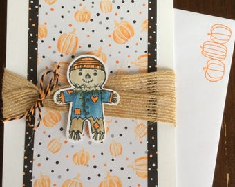 Thank you, Thanksgiving, Scarecrow, Autumn, Fall, Burlap, Pumpkins, Handmade, stampin up, card