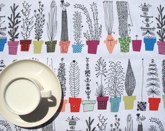 Tablecloth white fun plants herbs colorful pots Botanical Scandinavian Design , runner , napkins , curtains , pillows available, great GIFT