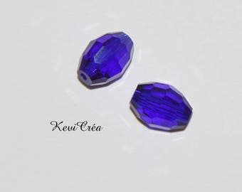 5 x dark blue cobalt glass crystal rice beads