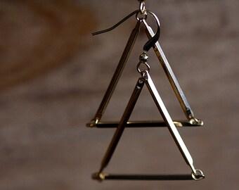 Triangle Earrings Geometric Dangle Earrings Gold Triangle Jewelry Simple Modern Geometric Jewelry - E257