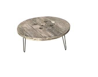 Reclaimed Wooden Cable Spool - Coffee Table with Hairpin Legs