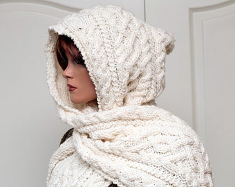 "Knitting Pattern for Hooded Scarf ""Lilja"""