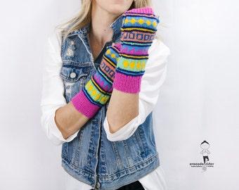 Fair Isle Fingerless Mittens - Knitted Bohemian Mittens - Fingerless Knitted Mittens - Oriental Long Wool Mittens - Gift Idea for Women