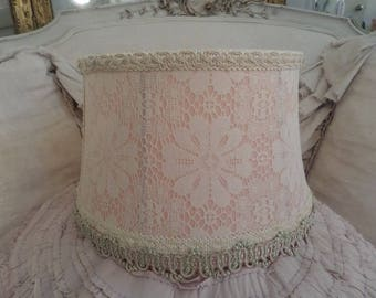 Beautiful Vintage Shabby Chic Lace Lampshade Cream Pink Satin Brocade Paris