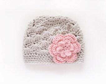 Newborn Girl Hat / Crochet Girls Hat / Girls Beanie / Baby Shower Gift Girl / Baby Girl Hat / Girls Winter Hat / Toddler Girl Hat