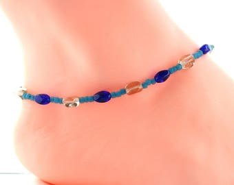 Blue ankle jewelry, boho blue anklet,  gift for her, Mothers day gift