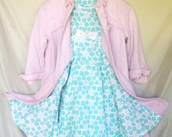 Girls Ensemble - Floral Dress and Coat Pink and Blue