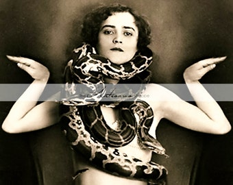 Printable Instant Download - Serpent Girl Snake Medusa Vintage Portrait Photograph - Paper Crafts Scrapbooking Altered Art - Woman & Snakes