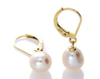 Pearl Leverback Earring, White Pearl Drop Earring, Hallmarked 9ct 9k Yellow Gold Leverback Pearl Earrings, Wedding Jewellery, Bridal Gift