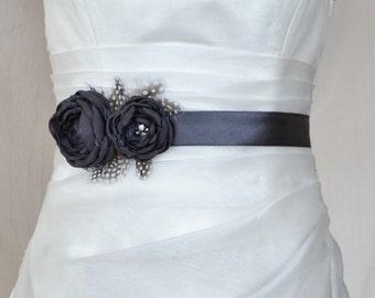 Bridal belt, Charcoal Bridal sash, Floral Bridal Belt, sash belt, Chorcoal bridal belt, Flower wedding sash, Flower wedding dress belt