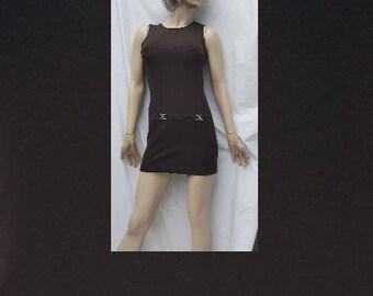 60s nrown mini dress/mod/shift dress/A-line micro mini/