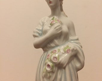 Vintage Porcelain woman figurine from Curtea de arges Roumania gift idea wedding christmas birthday