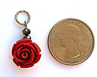Hearing Aid Charms: Red Roses with glass accent beads!