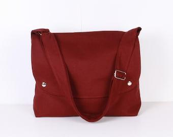 Men Messenger / Burgundy Canvas / Claret Red Lining / Adjustable strap / Women Messenger / Travel Bag