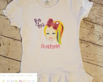 Girls Custom JoJo Siwa Cutie Shirt * Be You * Embroidered, Applique, Monogrammed, Customized with your name - Many sizes available!!