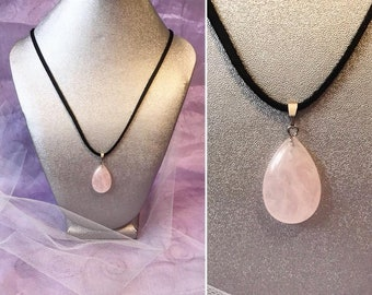 Pink Rose quartz pendant on leather suede cord  for love friendship and beauty one pendant