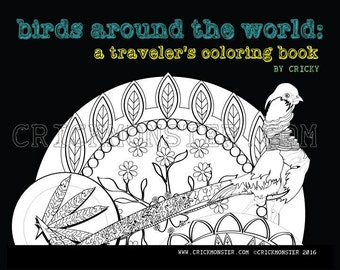 SALE Coloring Pages: Birds from Ecuador Costa Rica Mexico Scotland Portugal Virgin Islands Azores Canada  Coloring Book for Travelers