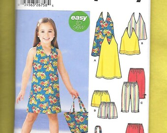 Simplicity 5531 Girl's Halter Dress, Halter Top, Shorts, Skort, Capri Pants, And Beach Bag, Sizes 3, 4, 5, 6 , 7*, 8, *See Note