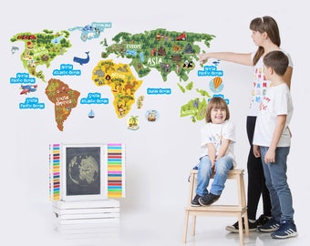 World Map Kids Wall Decal for Childrens Room, Continents Oceans Vinyl Wall Sticker, Animal Nursery Art, Classroom Decor, Playroom Decal 1319