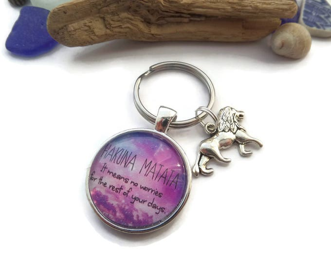 "LION KING inspired 25mm 1"" glass dome "" hakuna matata means no worries "" keyring fan gift jewellery SIMBA Uk"