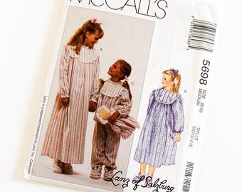 Vintage 1990s Girls Size 8,10 Pajamas Nightgown Bootees and Doll McCalls 5698 Sewing Pattern FACTORY Folds Prairie Girl Style / b27,28""