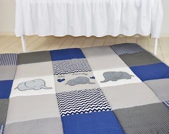 Play Mat Large Elephant Baby Rug, Padded Navy Gray Playmat, Chevron BabyMat