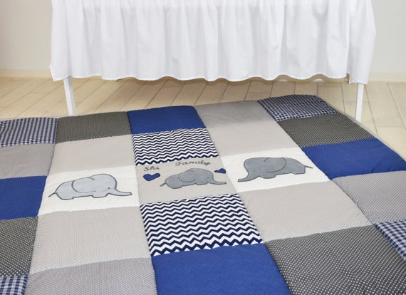 Play Mat Large Elephant Baby Rug, Padded Navy Gray Playmat, Chevron BabyMat