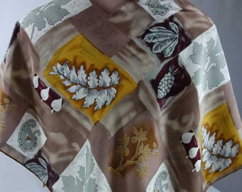 """LOREDANO Charmeuse SILK Scarf 35"""" Painterly Leaves Patterns in Nature Hand Rolled Edges"""