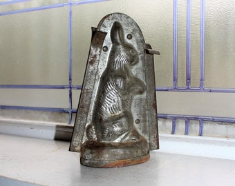 Antique Tin Rabbit Chocolate Mold 19th Century Kitchen Decor