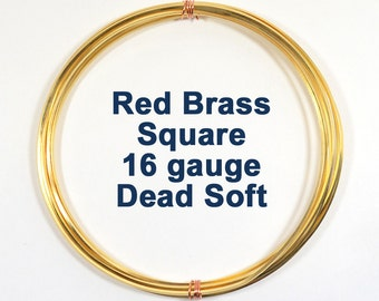 16ga Square Red Brass Wire - Choose Your Length