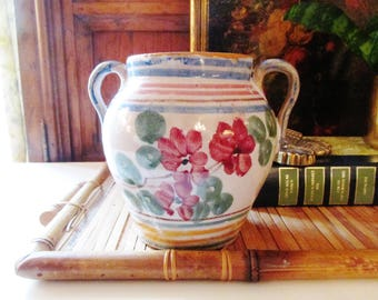 Vintage Italian Pottery,  Art Pottery, Hand Painted Urn, Cottage Chic, Pottery Flower Vase, Farmhouse Chic