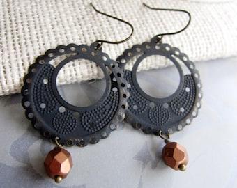 Black Patina Earrings, Hoop Earrings, Filigree Pattern, Medium Size, Bohemian, Moroccan, Tribal. Everyday Casual, Redpeonycreations
