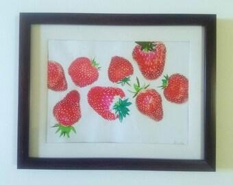 Original encadré Monotype «Tumbling fraises»