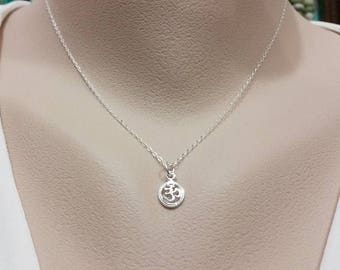Dainty Solid Sterling Silver OHM Necklace - Minimal Charm, Yoga Charm